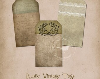 Rustic Vintage Tags Printable Instant Digital Download