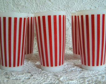 Hazel Atlas Stripe Red and White Mid Century Milkglass Cups, Glasses, Tumblers, 1950's Candy Stripe