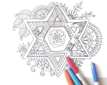 Star of David Shield of David Magen David israel flag coloring hexagram Jewish symbol Seal of Solomon מגן דוד Māḡēn Dāwīḏ lasoffittadiste