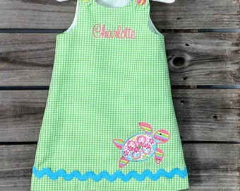 Lime Green Gingham jumper Dress With Sea Turtle- Monogrammed