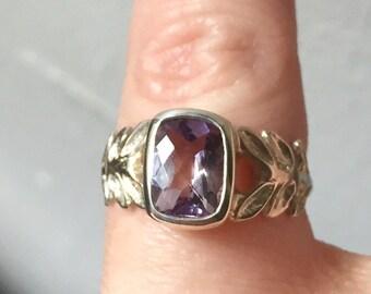 Rose de France Amethyst and Sterling Silver- Laurel Leaf Ring