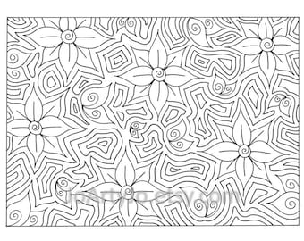 Flower Coloring Page Printable, Zentangle Inspired Instant Download, Zendoodle Pattern, Page 68