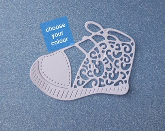 Baby shoe  - intricate die cut - flat colour cardstock - approx 7.5cm/3 inches x 8.5cm/3.4 inches - DC017