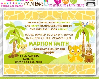 640: DIY - King Of The Jungle Party Invitation Or Thank You Card
