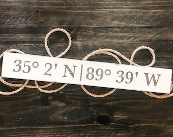Location sign, custom coordinates wood sign, address sign, latitude longitude wood sign, gps coordinates wood sign