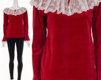 70's Red Velvet Top Angel Sleeves Bell Sleeves Ruffle Lace Neckline Poet Blouse Romantic Lace Velvet Blouse Small Medium