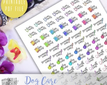 Functional Phrases for Dog Care – PRINTABLE Planner Stickers for Erin Condren, Happy Planner, Personal-Sized Planners, etc