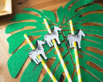 Zebra Safari Straws