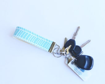 New Fabric Key Fob Herringbone Pond Blue