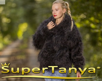 Made to order hand knitted mohair cardigan, super fuzzy sweater in black by SuperTanya
