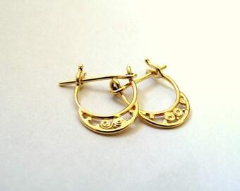 14K GOLD EARRINGS, gold earrings, Indian earrings, tribal earrings, earrings gold, solid gold earrings, 14k gold hoop earrings, earrings 14k