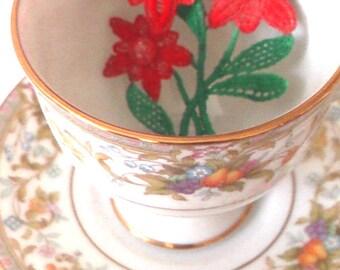 crocheted brooch, red flower,