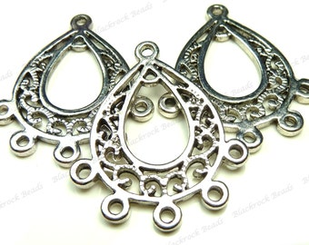 30x25mm Antique Silver Tone Chandelier Metal Connectors - 4pcs - Jewelry Supplies, Findings, Links, Drop Components - BH21