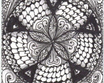 Zentangle inspired art, mandala, zendala, zentangle mandala, digital print, black and white