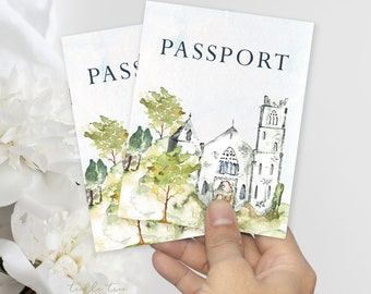 Passport Wedding Invitations - Going to the Castle (Style 13800)