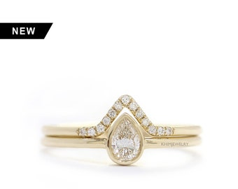 14k Solid Gold Pear Shape Diamond Wedding Ring Set,Simple and Elegant Engagement Ring In Bezel Setting