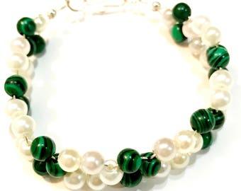 Elegant Natural Malachite & Swarovski Pearl Bracelet - Healing and Calming Gemstone - Gift Bracelet Jewelry