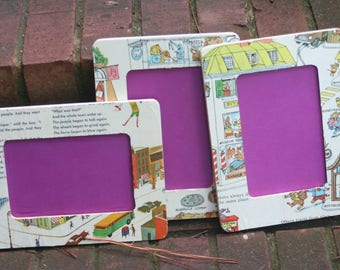 Vintage children's book picture frames-nursery, baby shower