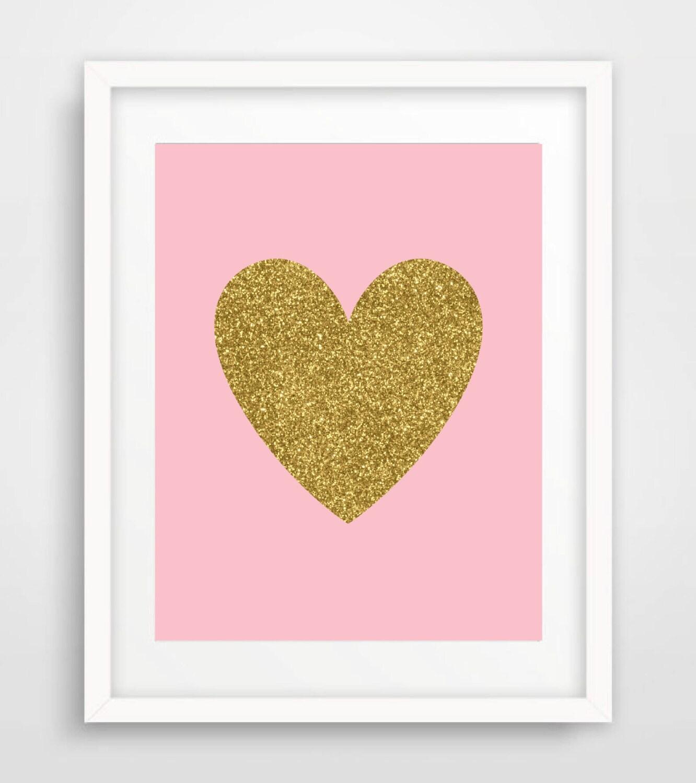 Gold Glitter Heart Print Baby Girl Nursery Wall Art Blush