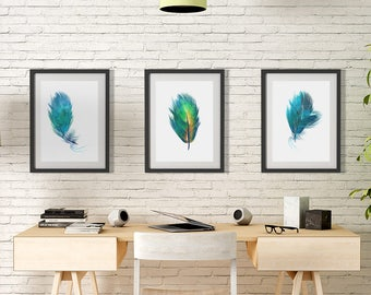 Set of 3 feather art print, nursery kids wall art print,  bedroom decor, nature print, modern wall art, office decor, minimalist art