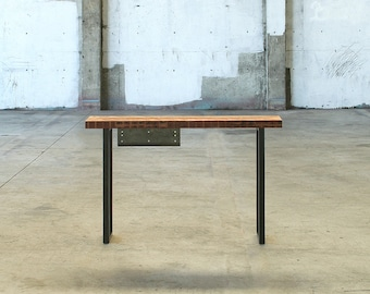 console - high table - hall table - industrial modern console from reclaimed wood and recycled content steel - desk with drawer