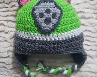 Paw Patrol inspired Rocky crocheted hat