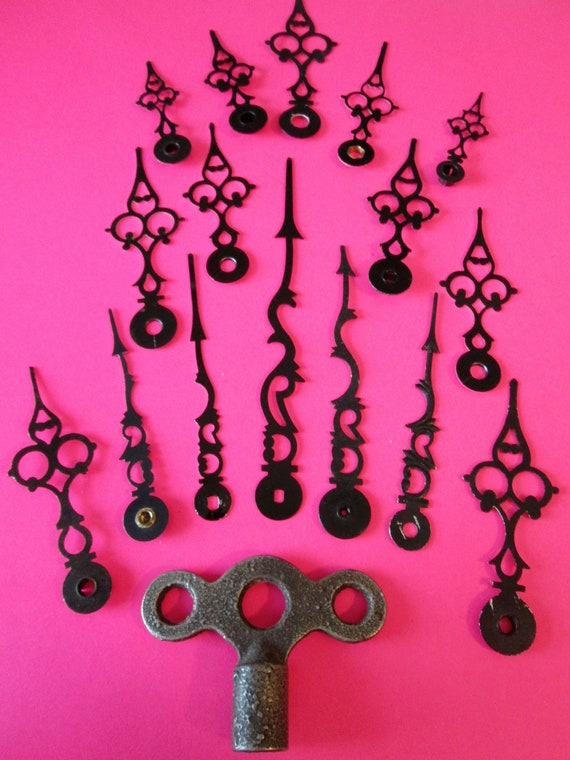 1 Cast Metal Clock Key and 16 Assorted Black Aluminum Serpentine Sytle Clock Hands for your Clock Projects, Jewelry Making, Steampunk Art