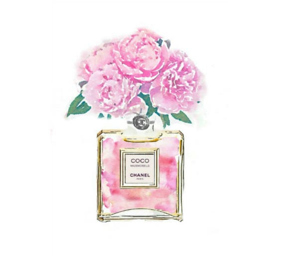 Coco Mademoiselle Digital Art Print Pink No 5 Perfume Bottle
