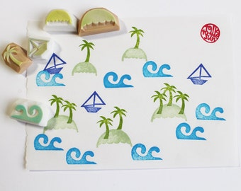 hawaii rubber stamp | palm tree boat island wave | diy summer birthday crafts | card making | hand carve by talktothesun | set of 5