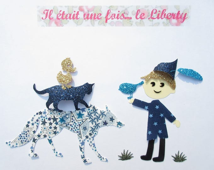 Applied fusible liberty Peter and the Wolf in Adelajda blue flex glitter iron on Peter wolf patch iron patches we applied fusing