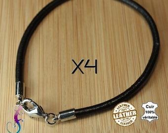 4 bracelets 20cm black genuine leather B6 European