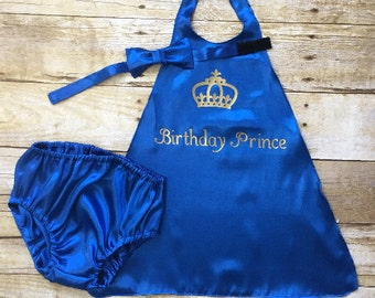 Royal Blue Cape - 1st Birthday Outfit Prince - Crown Cape - Birthday Prince Cape Set - Cake Smash Set - Boys Bow Tie - Diaper Cover – Cape