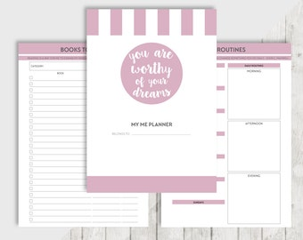 Printable ME Planner A5, Personal Inserts - Filofax Kikki K - Wishlist, Books to read, Movies to see, Journal, Thoughts, Bucket list, TV