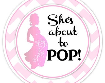 Baby Shower About to Pop Stickers, Baby Shower About to Pop Labels, Custom Baby Shower Labels, Personalized for YOU