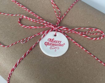 Merry Christmas holiday gift tag/tree ornament