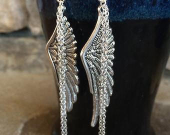Angel wing earrings, long dangle earrings, handmade