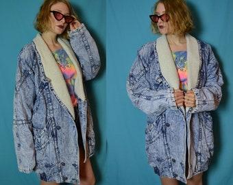 90s Shearling collar acid wash denim heavy winter jacket