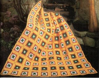 Vintage Granny Squares Afghan Crochet Pattern Fringe Cottage Squares Afghan Blanket Crochet Pattern PDF Instant Download