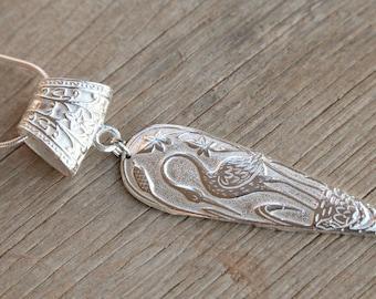 Sterling Silver Pendant, Crane Pendant, Waterbird, Audubon Society, Heron, Crane, Egret, Embossed, Silver Birds, Zen, Asian Teardrop Pendant