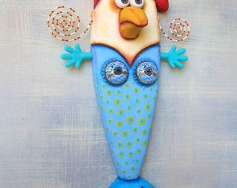 Chicken in a Mermaid Suit, Original Found Object Wall Sculpture, Mermaid Wall Art, Wood Carving, Chicken Wall Art, by Fig Jam Studio