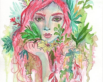 """Art Print watercolor illustration signed """"Surrounded by luck"""", portrait"""