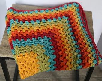 Rainbow Granny Square Infant Blanket/Lapghan