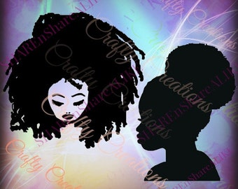 Afro Puff SVG Girl Bun Dreadlocks Beauty Face African American Black Natural Hair Rasta Life Reggae Queen Princess DXF Canvas 2018 Decal.