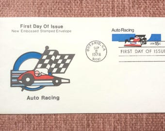 Auto Racing First Day Issue US Postage Stamp Stamped Envelope FDC 1978 Ontario CA