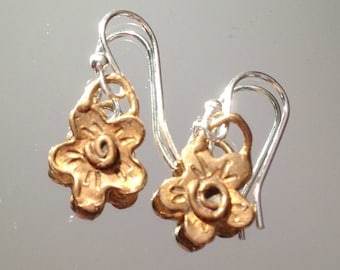 Rose Gold filled and sterling flower earrings