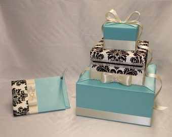 Elegant custom made Wedding Card Box-matching Guest Book and Pen-any colors