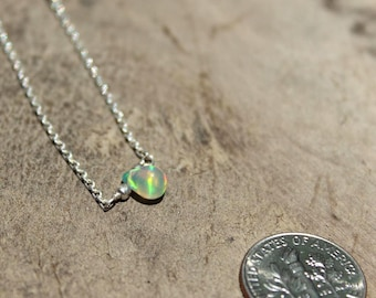 Ethiopian Opal Necklace Briolette on Sterling Silver, Fire opal necklace, October birthstone, Gift for her, Ethiopian opal necklace