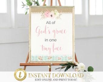 Baptism Sign, All of God's Grace Sign, INSTANT DOWNLOAD, Christening Gift, Baptism Gift, Shabby Chic, Baptism Sign, Christening Sign
