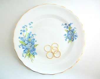 Vintage Ring Dish, Floral Ring Dish, Flower Ring Dish, Blue Ring Dish, Forget Me Not, Ring Dish Jewelry Dish Trinket Dish, Blue Floral Plate