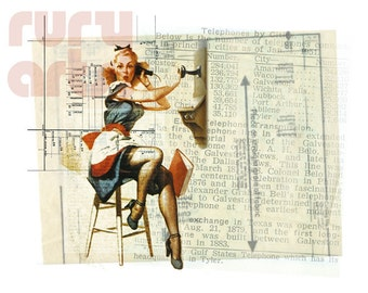 Dallas 1952: Phone Gal - Giclée Print from Digital Collage